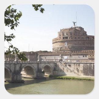Castel Sant'Angelo placeras nära vaticanen, 4 Fyrkantigt Klistermärke