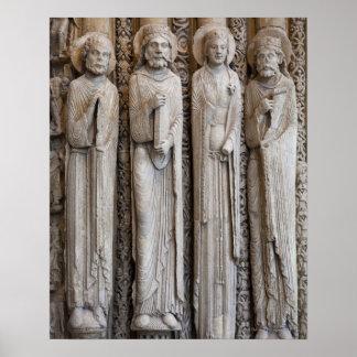 casts av statyer från facaden av Chartres Poster