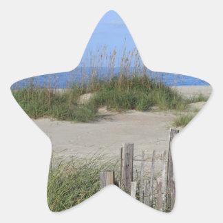 Caswell strand, NC-land och sjölandskap Stjärnformat Klistermärke