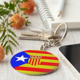 Catalonia flagga rund nyckelring