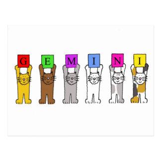Cats. för Geminifödelsedagtecknad Vykort