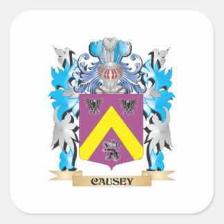 Causey vapensköld - familjvapensköld fyrkantigt klistermärke