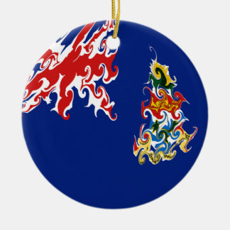 Cayman Islands Gnarly flagga Rund Julgransprydnad I Keramik