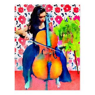 Cellistvattenfärgvykort Vykort