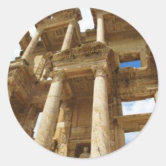 Celsiust bibliotek, berömd romersk byggnad - runt klistermärke
