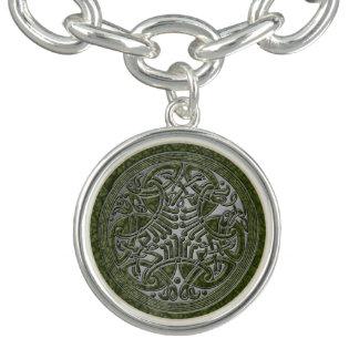 Celtic fnurra med gröna fåglar 3 - berlockarmband