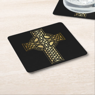 Celtic fnurrakor i guld och svart underlägg papper kvadrat