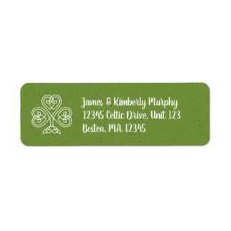 Celtic fnurraShamrock Returadress Etikett