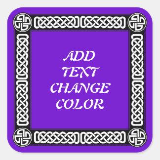 Celtic gräns på någon färg fyrkantigt klistermärke