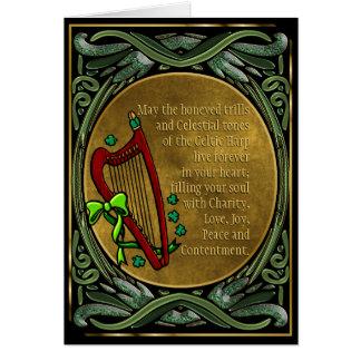 Celtic harpa, Entwined gröna Vines, irländska Hälsningskort
