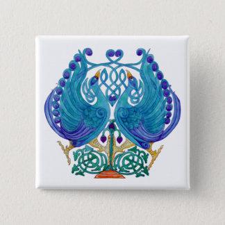 Celtic påfåglar kvadrerar knäppas emblem standard kanpp fyrkantig 5.1 cm
