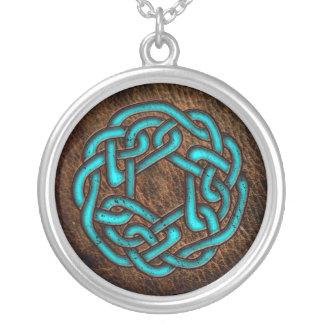 Celtic prydnad för Mystic blått på läder Silverpläterat Halsband