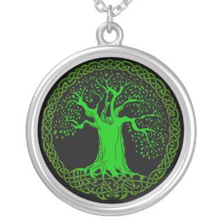 Celtic träd silverpläterat halsband