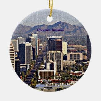 Centra beskådar av Phoenix, Arizona Rund Julgransprydnad I Keramik