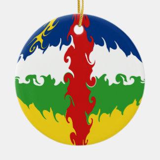 Centrafrique Gnarly flagga Rund Julgransprydnad I Keramik