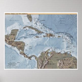 Central America och den karibiska kartan Poster