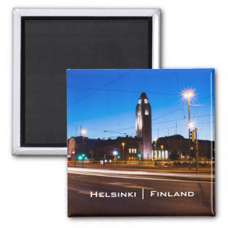 Central Helsingfors under blåtttimme Magnet