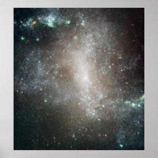 Centralregion av den gallerförsedda spiral galaxen poster