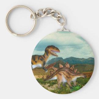Ceratosaurus- och Stegosauruskeychain Rund Nyckelring