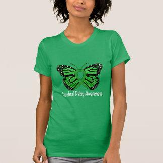 Cerebralt band för Palsyfjärilsmedvetenhet T-shirts