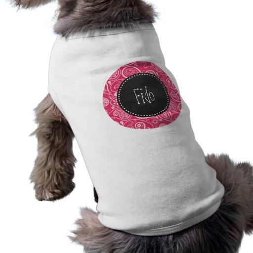 Cerise Paisley; Blommigt; Retro svart tavla Hund Tshirt
