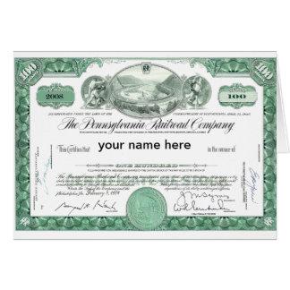 Certifikat för lagrar för Pennsylvania järnväg Hälsningskort