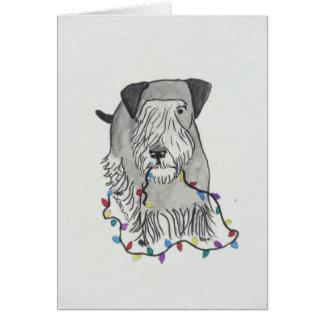Cesky Terrier med julljus Hälsningskort