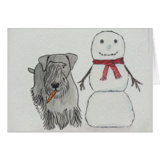 Cesky Terrier med snögubbe morot Hälsningskort