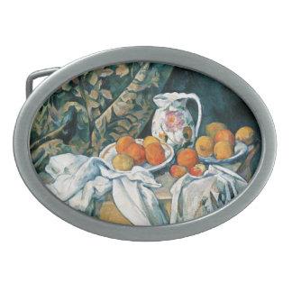 Cezanne stillebengardin, blommig kanna, frukt
