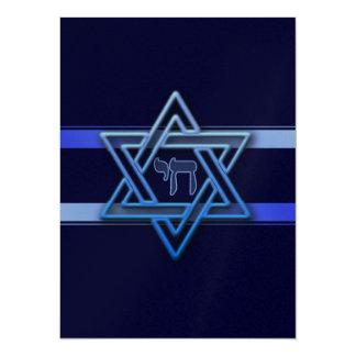 Chai för judisk davidsstjärna hebréiska blått och 14 x 19,5 cm inbjudningskort