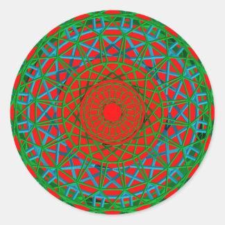 Chakra grönt som är röd, blåttklistermärke runt klistermärke