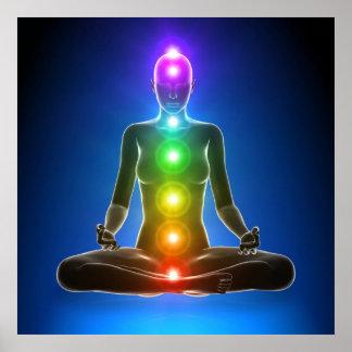 chakra sju chakras, energisystem, symboler, aura poster
