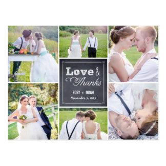 Chalked kort för Collagebrölloptack Vykort