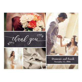 Chalked tack för bröllop för fotoCollage lantligt Vykort