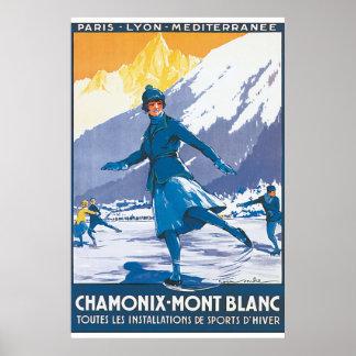 Chamonix Mont Blanc vintage resoraffisch Poster