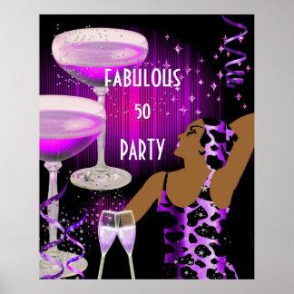 Champagne för 50 DAM för Diva sagolik purpurfärgad Poster