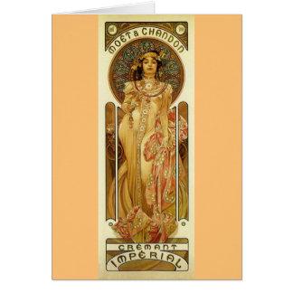 Champagne-Imperialistisk art nouveau Hälsningskort