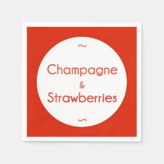 Champagne & jordgubbar papper servett
