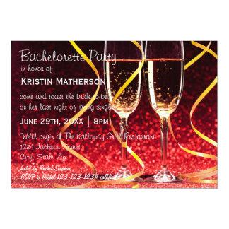 Champagneexponeringsglasfoto - Bachelorette party 12,7 X 17,8 Cm Inbjudningskort