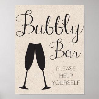 Champagnepubbröllop undertecknar poster