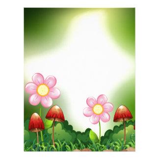 Champinjon och blommor brevhuvud