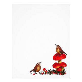 Champinjoner fåglar, Pinecones, bär: Konstverk Brevhuvud