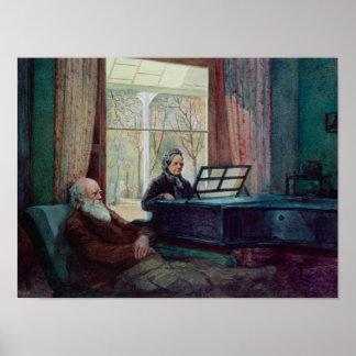 Charles Darwin och hans fru på pianot Poster