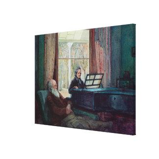 Charles Darwin och hans fru på pianot Canvastryck