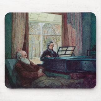 Charles Darwin och hans fru på pianot Musmatta
