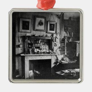 Charles Darwin studie på Down huset Silverfärgad Fyrkantigt Julgransprydnad