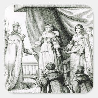 Charles mig som ges sceptren och kronan fyrkantigt klistermärke