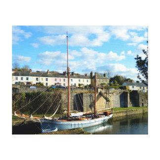 Charlestown Cornwall England Poldark läge Canvastryck