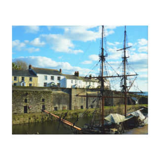 Charlestown hamnCornwall UK Poldark läge Canvastryck