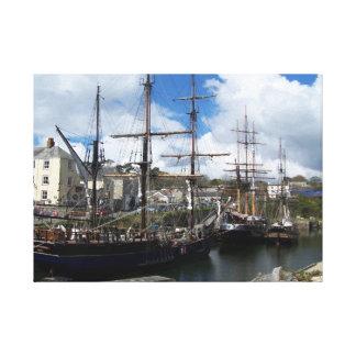 Charlestown södra Cornwall seglingfrakter Canvastryck